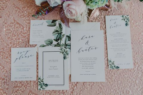 Blush Sequins and Greenery Accents for Fresh and Modern Wedding Invitations