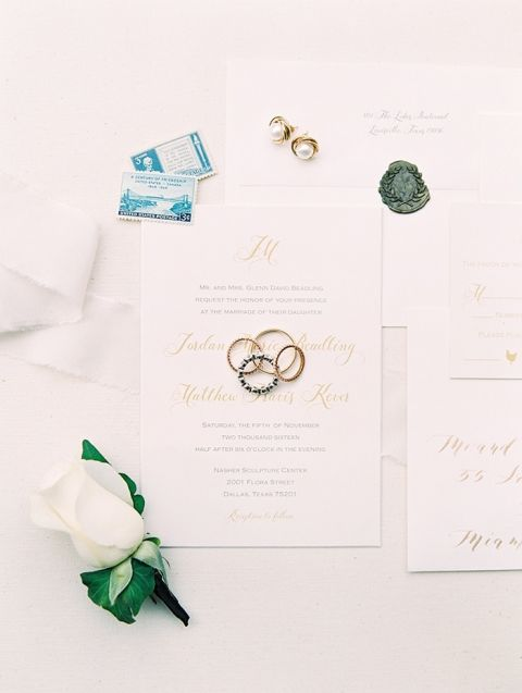 Classic Gold Wedding Invitations with Vintage Stamps