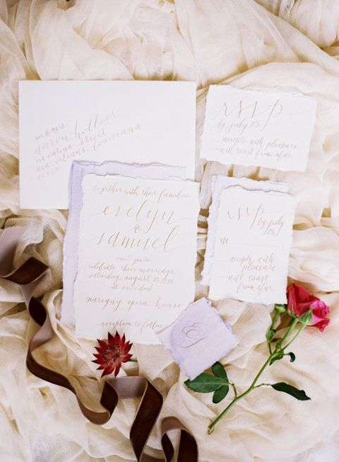 Lilac and Gold Calligraphy Wedding Suite