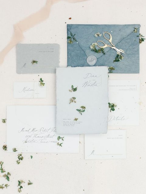 Blue and White Raw Paper Invitations