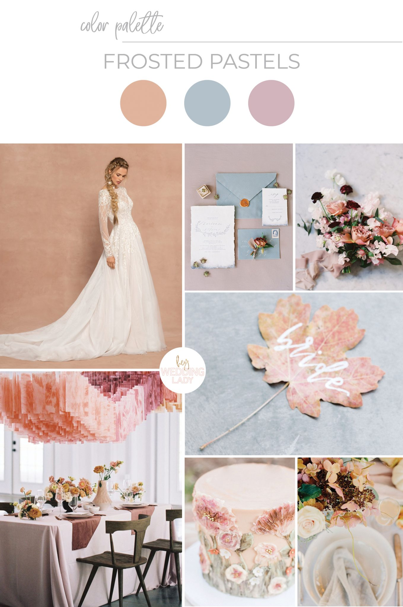 Modern Pastel Wedding Inspiration with Frosted Fall Colors inspired by Frozen 2