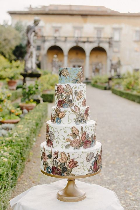 Cake inspired by Italian Renaissance Artwork for a Fall Garden Wedding in Florence
