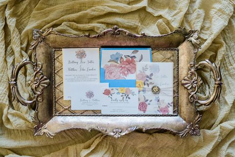 Vintage Styling for a Floral Invitation Suite