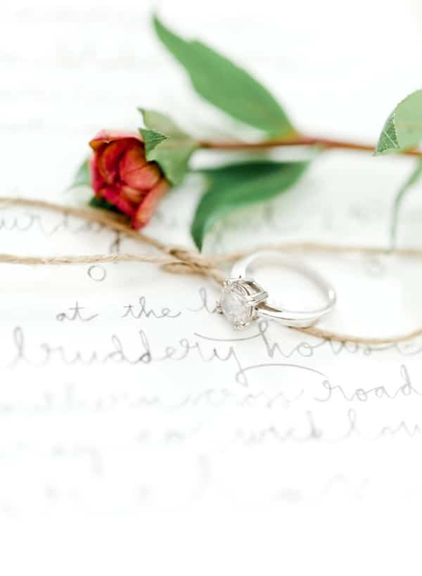 Engagement Ring and Rosebud | Brumley and Wells Photography | Lifelong Love Letter - I Choose You Wedding Song Inspiration for a Music Inspired Wedding!