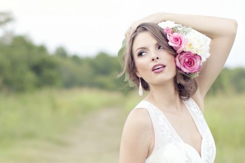 Dreamy Styled Bridal Shoot featuring a Vintage Wedding Dress and a Stunning Floral Crown on Hey Wedding Lady
