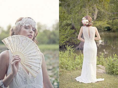 Dreamy Styled Bridal Shoot featuring a Vintage Wedding Dress and Accessories on Hey Wedding Lady