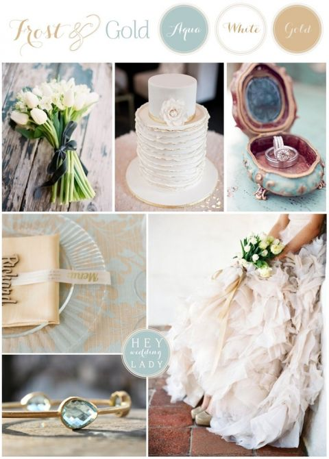 Frost and Gold - Regal Wedding Inspiration in Gold and Pale Aqua