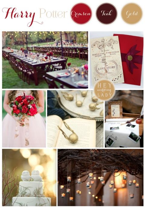 A Gryffindor Red And Gold Rustic Harry Potter Inspiration Board