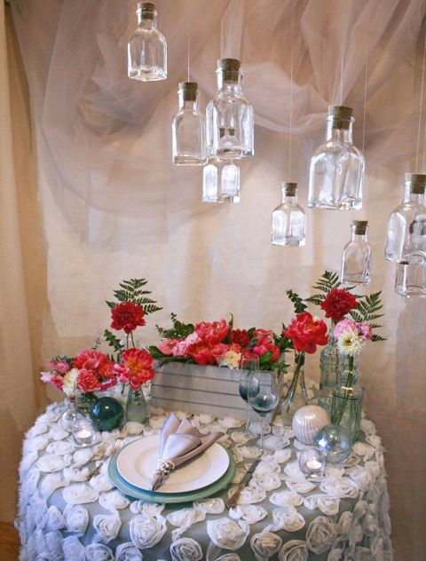 Coastal Fog Styled Shoot in Mint and Coral with a Handmade Bottle Chandelier from Hey Wedding Lady