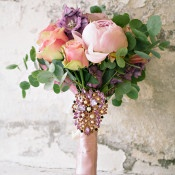 Pastel Pink and Purple Bouquet with a Vintage Crystal Brooch   Angelworx   Norwegian Spring - a Romantic Pastel Wedding Inspired by Spring in the Fjords