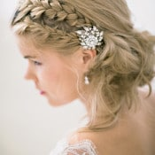Intricate Braided Bridal Updo with a Vintage Crystal Brooch | Angelworx | Norwegian Spring - a Romantic Pastel Wedding Inspired by Spring in the Fjords
