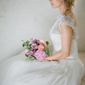 Lace and Chiffon Wedding Dress with a Pastel Bouquet | Angelworx | Norwegian Spring - a Romantic Pastel Wedding Inspired by Spring in the Fjords