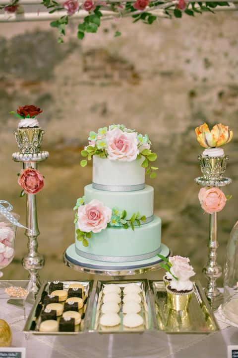 Pastel Mint and Blush Wedding Cake and Dessert Display | Angelworx | Norwegian Spring - a Romantic Pastel Wedding Inspired by Spring in the Fjords