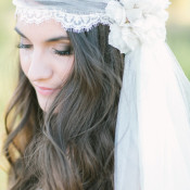 Lace and Silk Floral Headpiece | Rachel Solomon Photography | Magic Hour - Sun-Gilded Bohemian Bridal Portraits