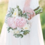 Ruffled Pink Peony Bouquet | Rachel Solomon Photography | Magic Hour - Sun-Gilded Bohemian Bridal Portraits