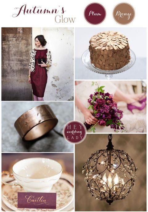 Autumns Glow - Bronze & Plum Wedding Inspiration Board