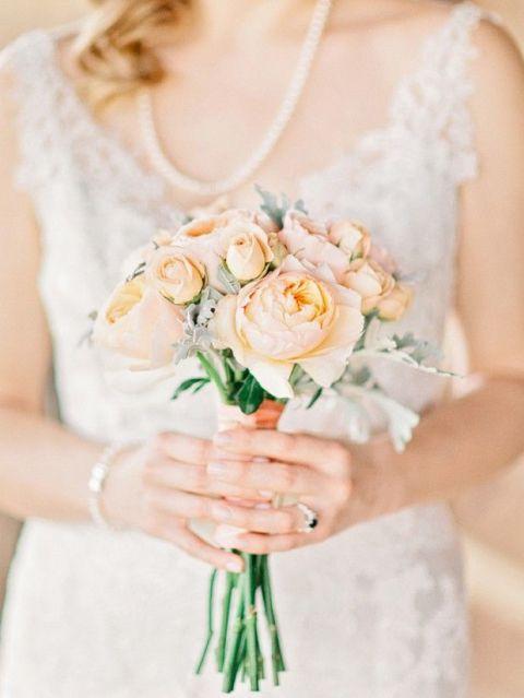 Vintage Peach Rose Bouquet | Amy Arrington Photography | Peach Bellini Brunch Wedding Inspiration