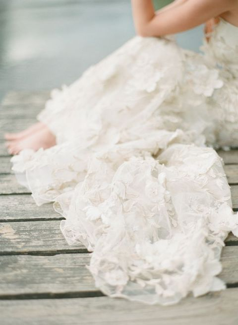 Barefoot Bride in a Floral Claire Pettibone Wedding Dress   White Loft Studio Photography   True Love Spell with Enchanting Practical Magic Wedding Inspiration
