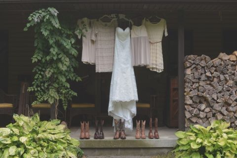 Bride & Bridesmaids' Dresses and Boots | Charming Lovebird Wedding by Greenwood Photography