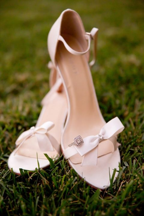 Bow Wedding Shoes and Engagement Ring | Chic Nautical Wedding Shoot by Colorful Snapshots Photography