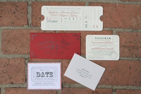 Brick Red Wedding Invitations   Dramatic 1930's Inspired Red and Gray Wedding