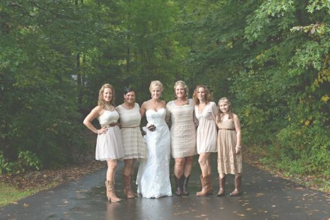 Bridesmaids in Taupe with Boots | Charming Lovebird Wedding by Greenwood Photography