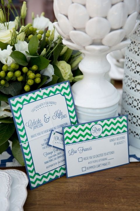 Green and White Chevron Nautical Invitation | Chic Nautical Wedding Shoot by Colorful Snapshots Photography