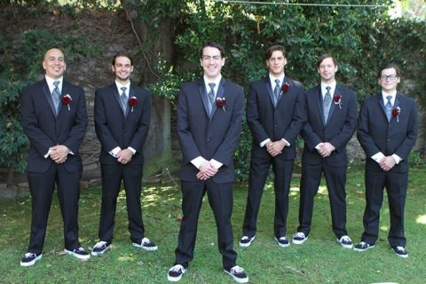 Groom and groomsmen in gray   Dramatic 1930's Inspired Red and Gray Wedding
