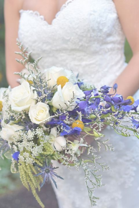 Blue and White Bridal Bouquet by Reese Flower Design | Charming Lovebird Wedding by Greenwood Photography