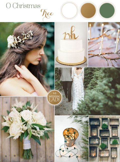 Christmas Tree Farm Wedding Ideas in Green, White, and Gold with Glowing Candles and Gilded Branches
