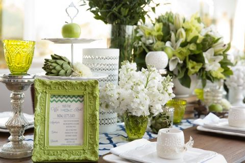 Chic White and Green Table Decor | Chic Nautical Wedding Shoot by Colorful Snapshots Photography
