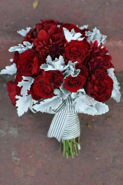 Red Rosebud and Dusty Miller Bridal Bouquet   Dramatic 1930's Inspired Red and Gray Wedding