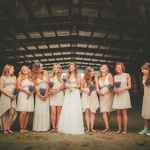 Bridesmaids in Ivory for Barn Portraits | Love Out Loud Studios | Gorgeous Rustic Bohemian Wedding in Vancouver