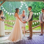 Ceremony Under a Covered Porch from the Rain | Love Out Loud Studios | Gorgeous Rustic Bohemian Wedding in Vancouver