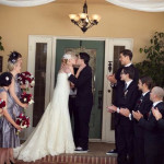 First Kiss   Dramatic 1930's Inspired Red and Gray Wedding