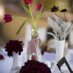 Red and Burgundy Centerpieces | Dramatic 1930's Inspired Red and Gray Wedding