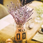 Dried Lavender Centerpieces with Burlap Table Numbers | Love Out Loud Studios | Gorgeous Rustic Bohemian Wedding in Vancouver