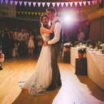 First Dance in a Barn hung with Bunting | Love Out Loud Studios | Gorgeous Rustic Bohemian Wedding in Vancouver