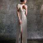 Aiguille Dress by Anna Sui for BHLDN | Gray Skies - Glowing Winter Wedding Inspiration in Gray and Blush
