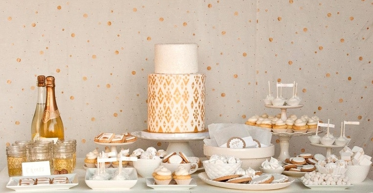 Winter Glam Art Deco Wedding Inspiration In Gold White