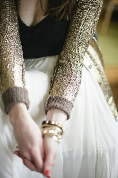 Gold Cable Knit Cardigan | Cider and Spice - Gilded Autumn Woods Wedding Inspirationa