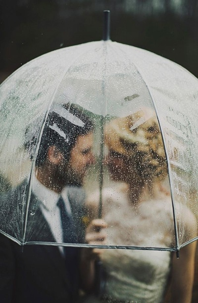 Rainy Bridal Portraits | Gray Skies - Glowing Winter Wedding Inspiration in Gray and Blush