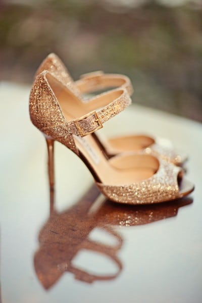 Rose Gold Jimmy Choo Heels | Gray Skies - Glowing Winter Wedding Inspiration in Gray and Blush