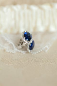 Sapphire Earrings | Blue and Peach Wedding Inspiration