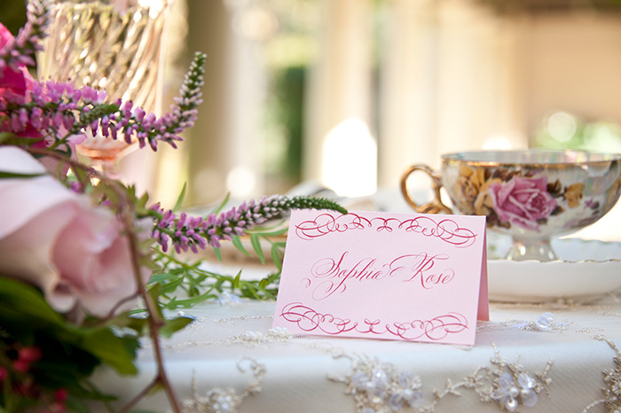Elegant Calligraphied Place Cards | Vintage Garden Styled Shoot