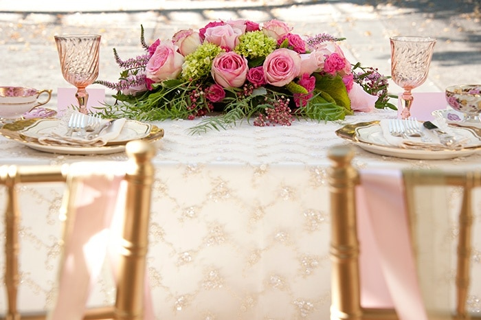 Luxurious and Romantic Sweetheart Table in Pink, White, and Gold | Vintage Garden Styled Shoot