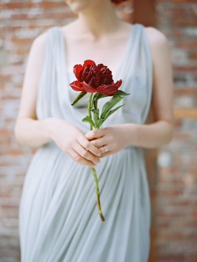 Single Crimson Peony against a Draped Gray Gown | Landon Jacob Photography