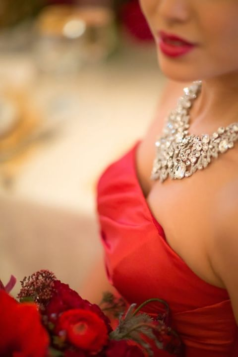 Glamorous Red Dress with a Crystal Statement Necklace | Maru Photography | Let It Snow - Glamorous Holiday Wedding