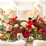Glam Red and Gold Holiday Centerpiece | Maru Photography | Let It Snow - Sweet Winter Wedding Shoot