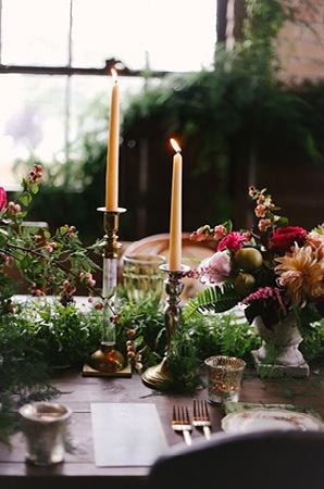 Fern and Candle Wedding Decor